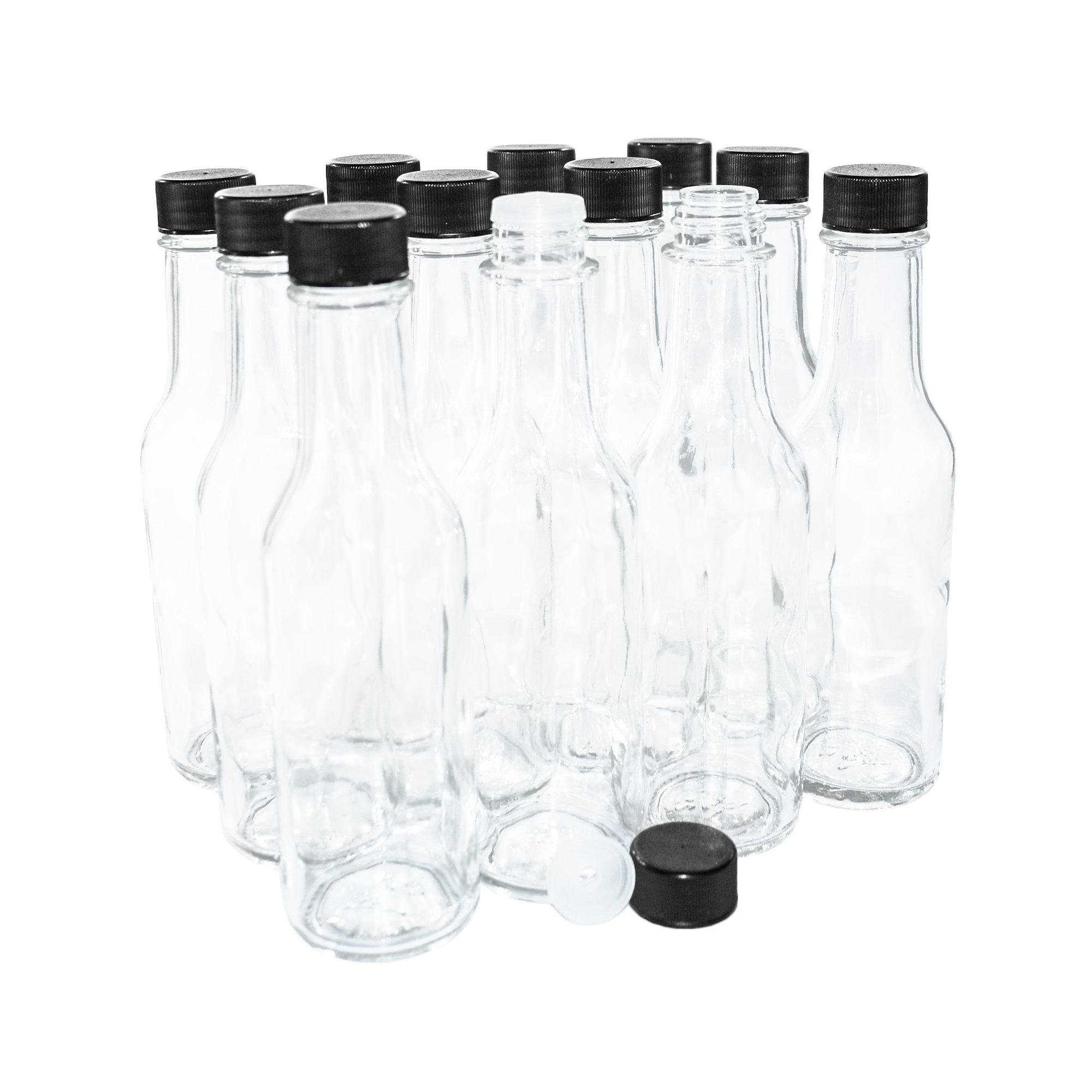 (12 pack) 5 oz. Clear Glass Hot Sauce Bottle with Black Cap and Orifice Reducer