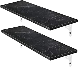 Magicfly Wall Mounted Floating Shelves, Waterproof Long Rustic Wood Shelf, Display Ledge Large Storage Shelves for Bedroom, Bathroom, Kitchen, Home Décor, Set of 2, Marble Black