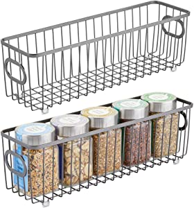 mDesign Metal Farmhouse Kitchen Pantry Food Storage Organizer Basket Bin - Wire Grid Design for Cabinets, Cupboards, Shelves, Countertops - Holds Potatoes, Onions, Fruit - Long, 2 Pack - Graphite Gray