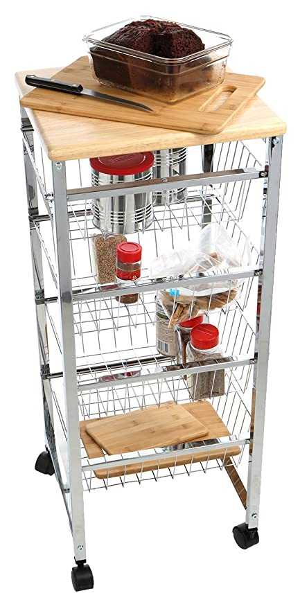 Superb Mind Reader 4WIRECART SIL Stainless Steel Mobile Kitchen Cart, Bar Cart,  Office Cart