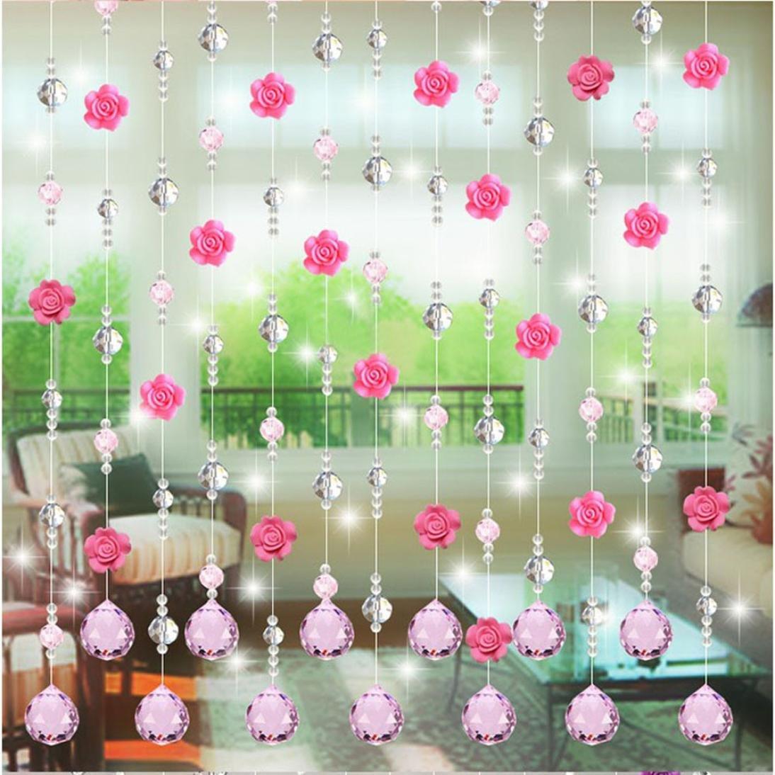 Coohole Crystal Glass Rose Bead Curtain Living Room Bedroom Window Door Wedding Home Decor (B, With Pendants)