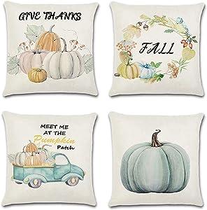 Ouddy Thanksgiving Pillow Covers18 X 18 Set of 4, Fall Pillows Autumn Decorative Throw Pillows for Farmhouse Fall Decor Pumpkin Patch Truck Fall Harvest Theme Thanksgiving Decorations