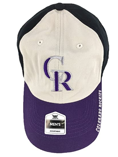 76afb721efd Image Unavailable. Image not available for. Color  Fan Favorite MLB Genuine  Merchandise Colorado Rockies MLB Black Tan Purple CR Baseball Hat