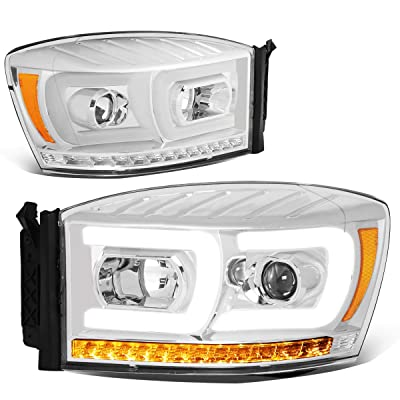 DNA Motoring HL-HPL-RM06-G2-CH-AM Pair LED DRL+Sequential Chasing Turn Signal Projector Headlight: Automotive