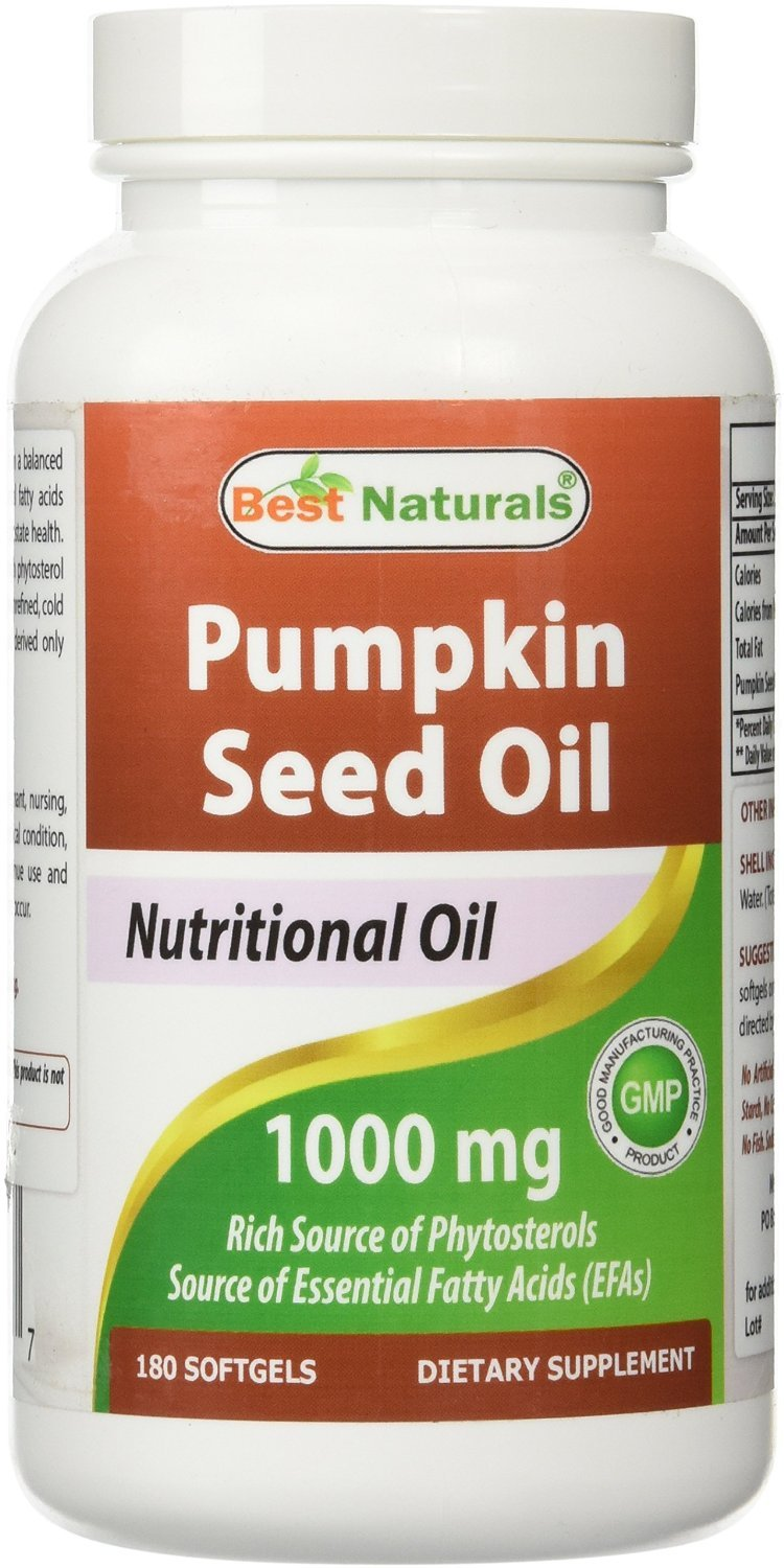 Best Naturals Pumpkin Seed Oil 1000 mg 180 Softgels (Pack of 2)