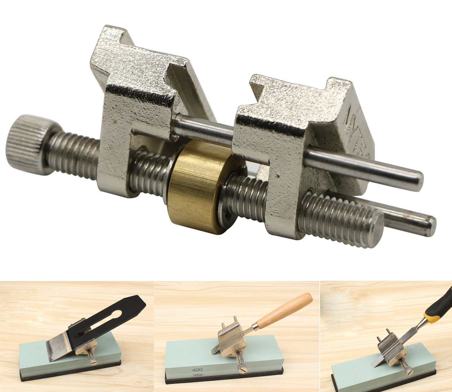 LepoHome Stainless Steel Honing Guide with Brass Roller for Wood Chisel Fixed Angle Knife Sharpener Planer Blade Sharpening(Clamping Width Range 0.2''-3.2'')