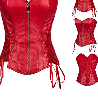 0bf394d3d Amazon.com  Side Lace Up Red Faux Leather Corset Bustier Top Punk Overbust  Corsets and Bustiers Gothic Clothing Korsett  Clothing