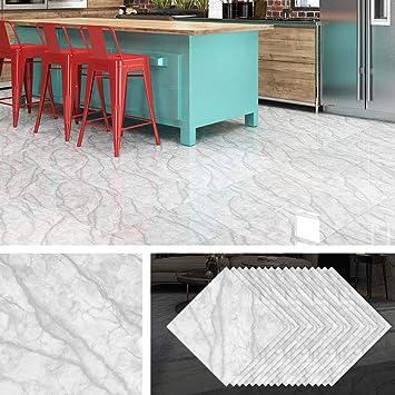 Livelynine Peel and Stick Floor Tile 12x12 Inch 32 Pack Grey Marble Vinyl Flooring Stick On Tile Backsplash for Kitchen Wall Waterproof Flooring Tile Stickers for Bedroom Laundry