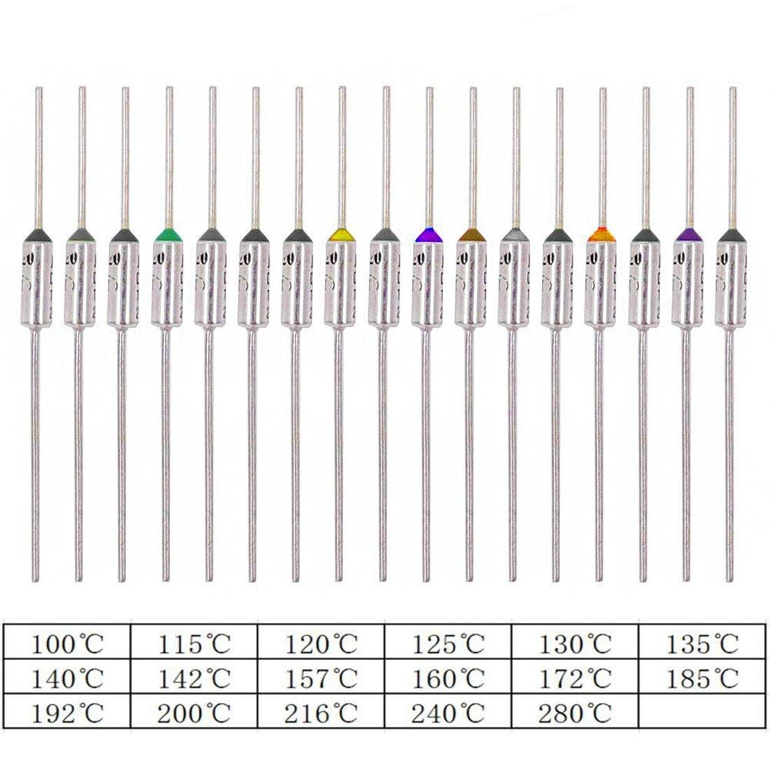 Hilitchi 85-Pcs 10A 250V Circuit Cut Off Temperature Thermal Cutoffs Fuse Assortment Kit - 100℃ to 280℃