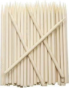 Penta Angel 5.5 inch Thick Bamboo Sticks for Cotton Candy Caramel Apple, Natural Birch Wooden Corn Dog Cob Hotdog Sticks Sausage Meat Skewers for Cheesecake Cakepop Lollipops Fruit, 50Pcs