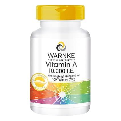 Vitamina A 10.000 I.E – Warnke Vitalstoffe – 100 cápsulas – 100% Vegano