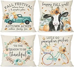 PANDICORN Country Fall Pillow Covers 18x18 Set of 4, Farmhouse Teal Truck Orange Pumpkin Cow Maple Leaves, Autumn Thanksgiving Decorative Throw Pillow Cases, Home Couch Decor Outdoor Porch Decorations