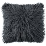 OJIA Deluxe Home Decorative Super Soft Plush Mongolian Faux Fur Throw Pillow Cover Cushion Case (18 x 18 Inch, Dark Grey)