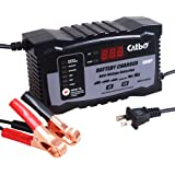 CATBO 2Amp 6 Amp Battery Charger 6V 12V Auto-Voltage Detection,Lead Acid Battery Float Charger Maintainer With LCD Display For Motorcycle Car Boat Marine Lawn mower Atv Toy Car