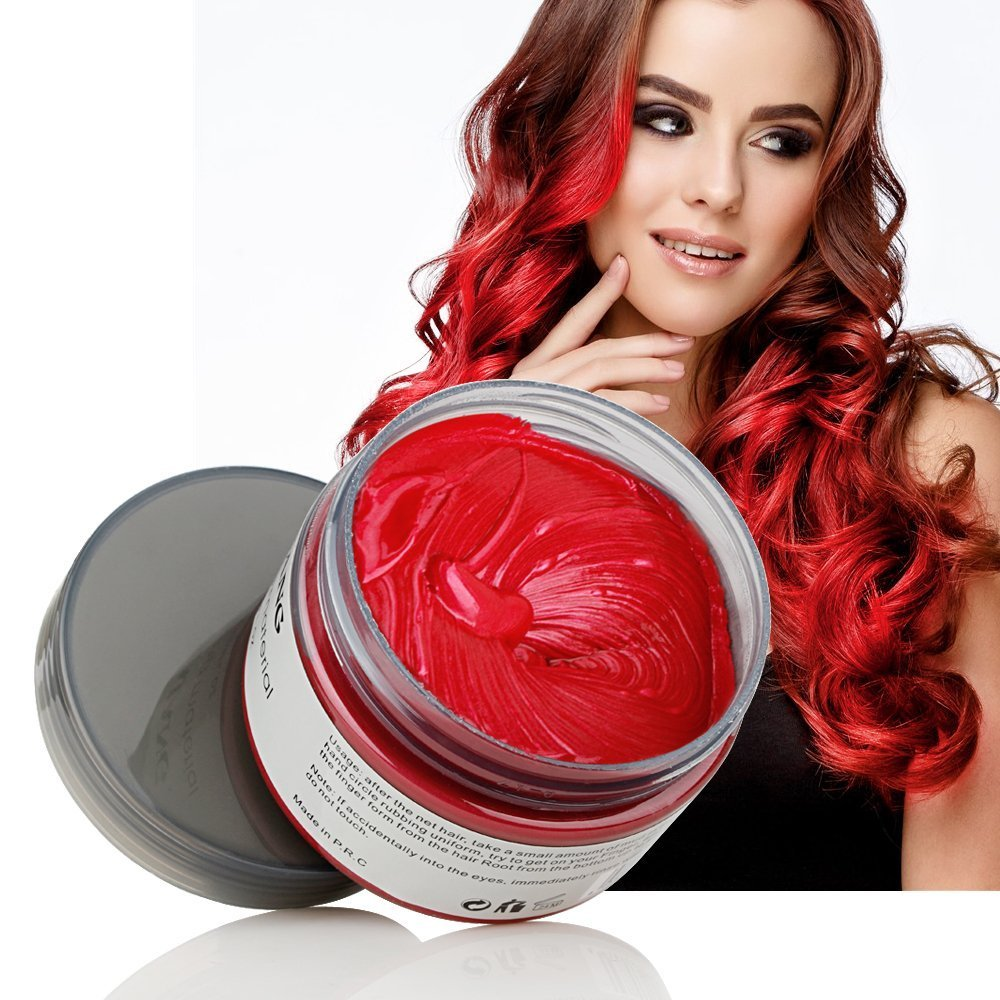 Amazon Com Red Temporary Hair Dye Wax 4 23 Oz Hailicare Instant Colored Hair Color Wax Natural Hair Pomades Hairstyle Cream Coloring Clay For Men And Women Party Festival Cosplay Halloween Beauty