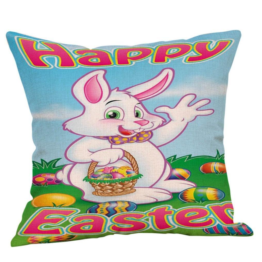 (45cmX45cm, E) WYXlink Happy Easter Pillow Cases Linen Square Rabbit Sofa Cushion Cover Home Decor Pillow Case 45cmX45cm (45cmX45cm, E) B07B3PN5ZY