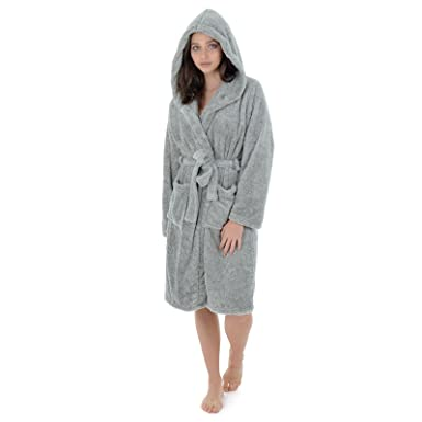 a1e058a6a47 Autumn Faith Luxurious Womens Bathrobe with Hood Soft Fluffy Warm Marled  Grey Fleece Luxury Dressing Gown Knee Length Ladies House Coat Wrap  Nightwear ...