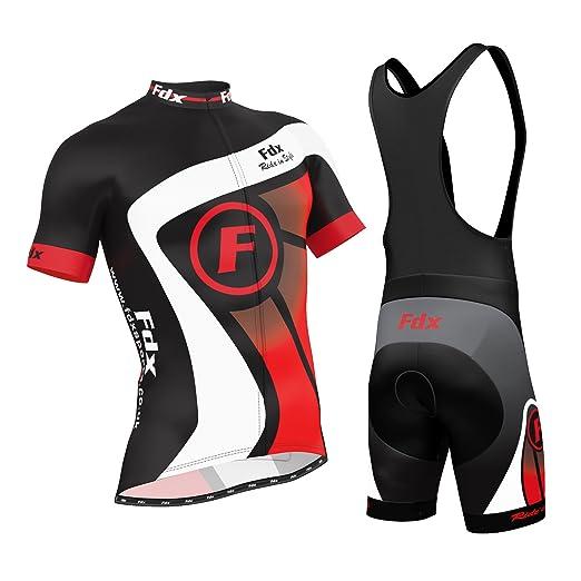 51 opinioni per FDX- Set ciclismo da uomo con maglia a maniche corte traspirante + salopette con