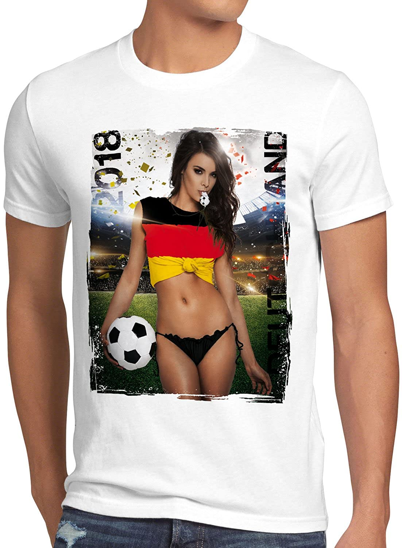 style3 WM 2018 Soccer Girl Deutschland Herren T-Shirt Fußball Trikot Germany Weiss