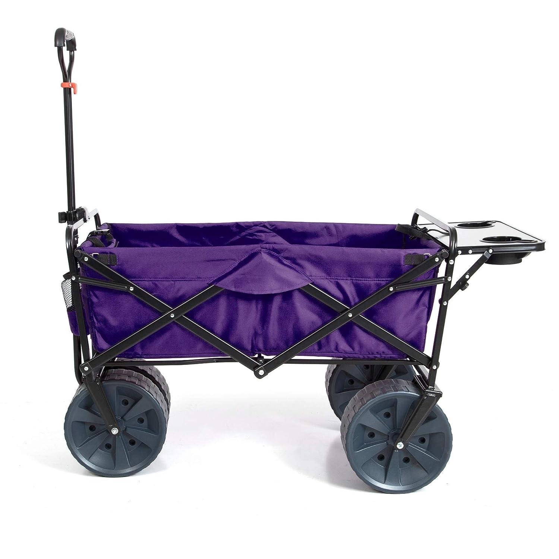 Mac Sports Heavy Duty Collapsible Folding All Terrain Utility Beach Wagon Cart (Purple/Black with Table)