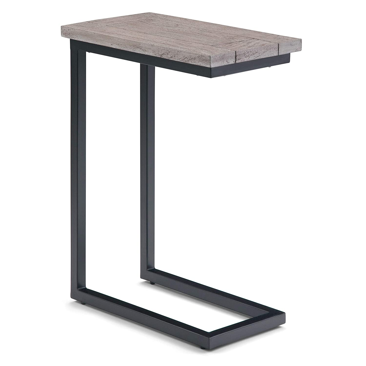 Simpli Home 3AXCSKY-09BI Skyler Solid Mango Wood and Metal 18 inch Wide Industrial C Side Table in Birch