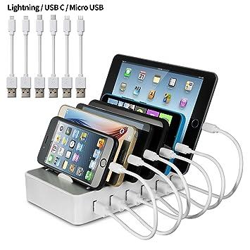 Estación de carga YOJA Dispositivos múltiples 6 puertos USB ...