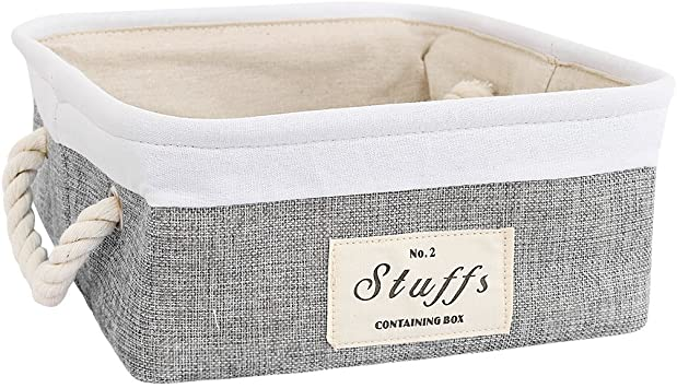 Rectangle Inough Rectangle Storage Bin Collapsible Dog Toy Storage Basket Fabric Bins Container Organizer for Home Office Closet Laundry Hamper with Cotton Rope Handles for Clothes Books