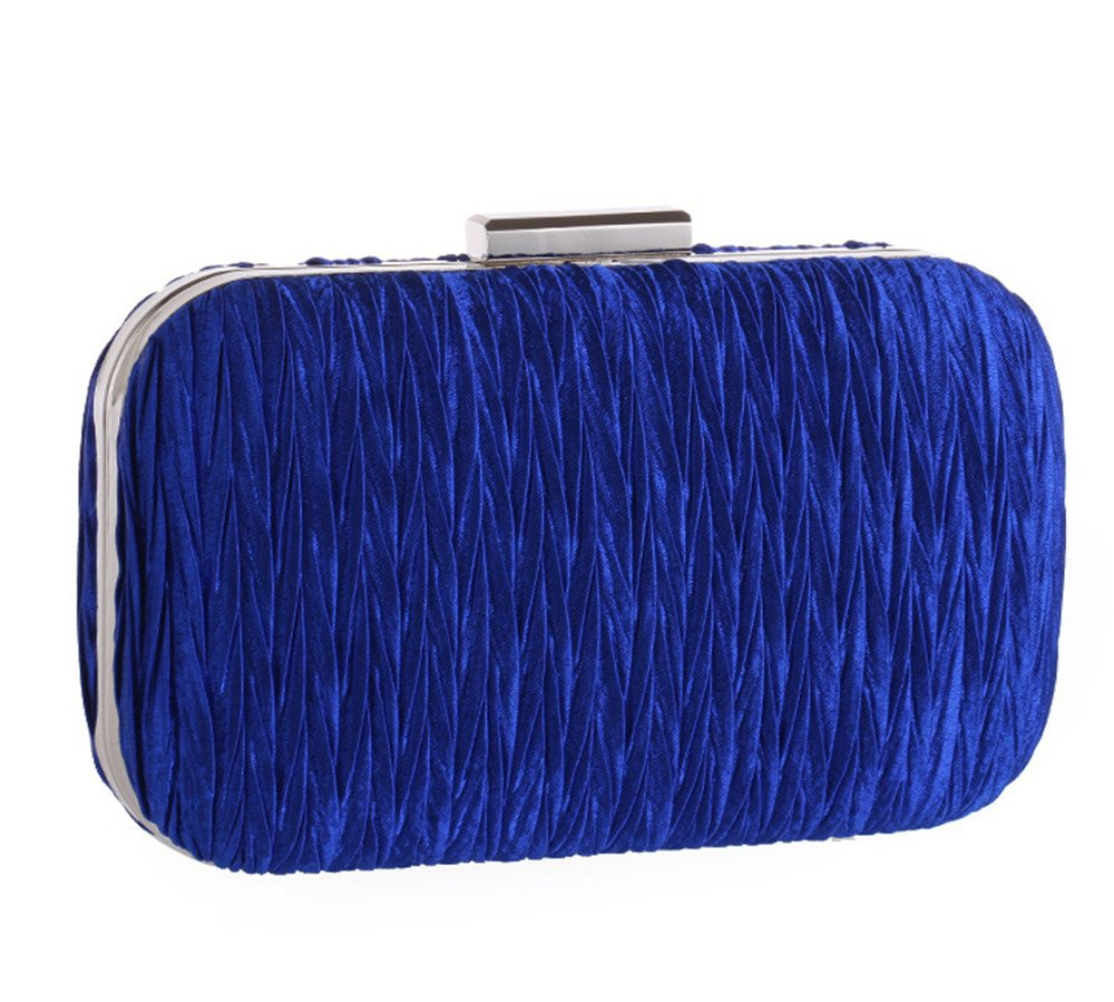 Women's Simple Pleated Velvet Evening Clutch Formal Dinner Prom Hardbox Grab Bag with Detachable Chain(Royal)