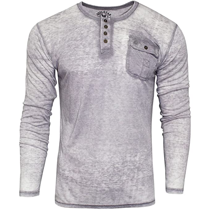 Mens Burnout Top//T Shirt By Soul Star Long Sleeved