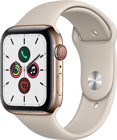 Apple Watch Series 5(GPS + Cellularモデル)- 44mmゴールドステンレススチールケースとストーンスポーツバンド - S/M & M/L