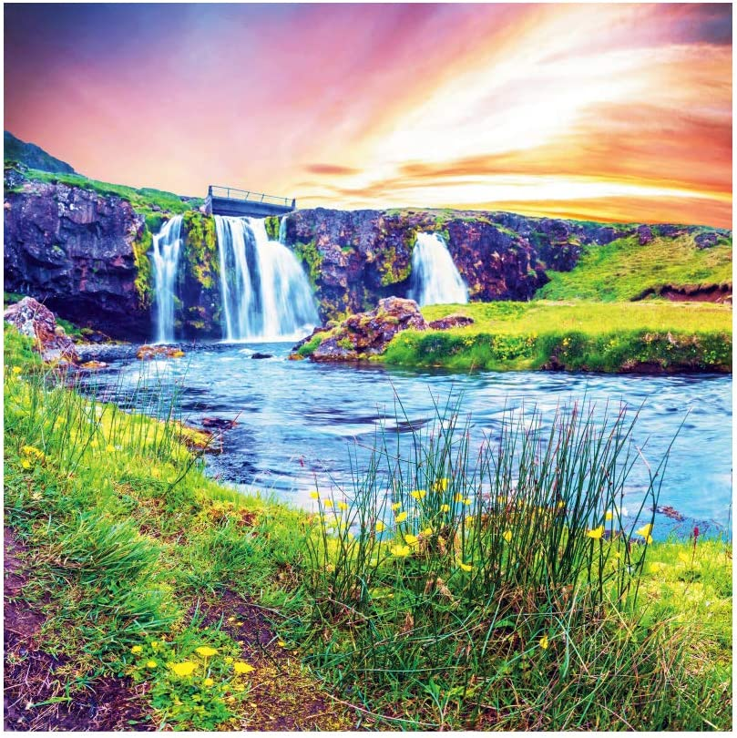 8x12 FT Waterfall Vinyl Photography Backdrop,Fantastic Waterfall Flowing Down Majestic Canyon in Northern Horizon View Image Background for Baby Birthday Party Wedding Graduation Home Decoration