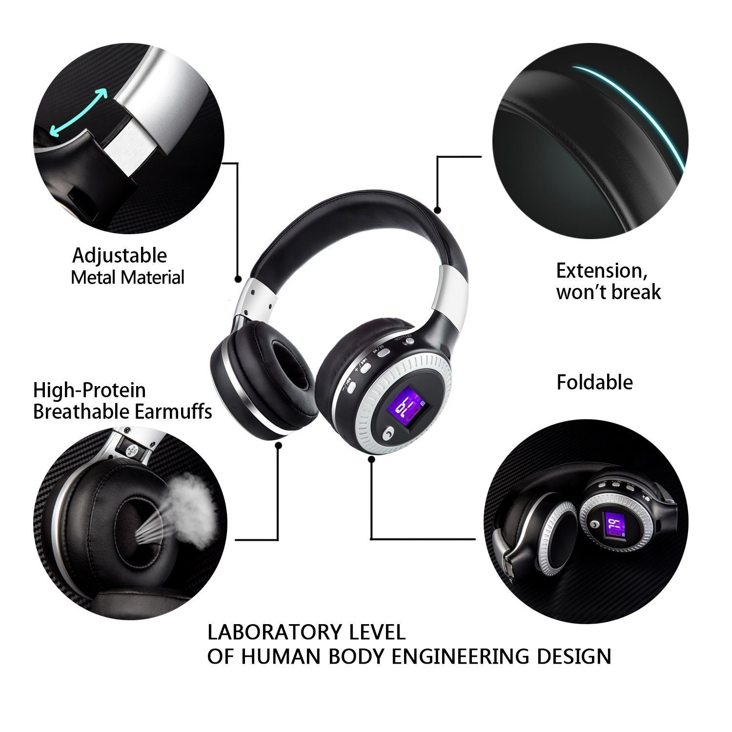 Bluetooth Over Ear Headphone,WONFAST LED Display Screen Foldable Wireless Headset HiFi Stereo Handsfree with Mic Support FM Radio TF Card for iPhone 8 7 Samsung//Laptop//PC Computer Black