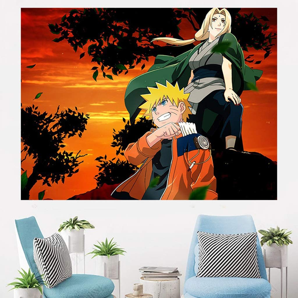 Naruto Anime Wall Tapestry Home Decoration Wall Hanging Bedroom Living Room 3D Tapestry Dormitory Wall Hanging Background Cloth Tapestry (Color : D, Size : 150CM×110CM) by HappyL