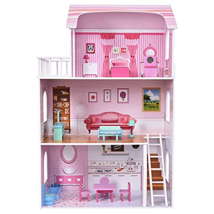 Costzon Big Dollhouse, Wood Loving Family, Doll Cottage With Furniture, Pink