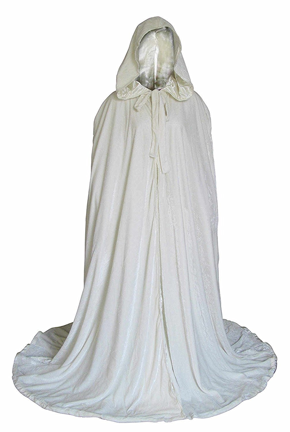 Aorme Halloween Hooded Cloaks Medieval Costumes Cosplay Wedding Capes Robe (X-Large, White)