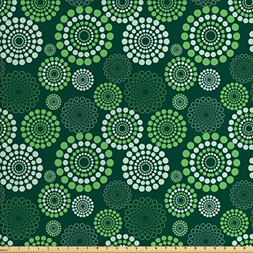 Ambesonne Abstract Fabric by The Yard, Dotted Pattern with Green Tones Geometric Illustration Modern Art, Decorative Fabric for Upholstery and Home Accents, Apple Green Pale Green
