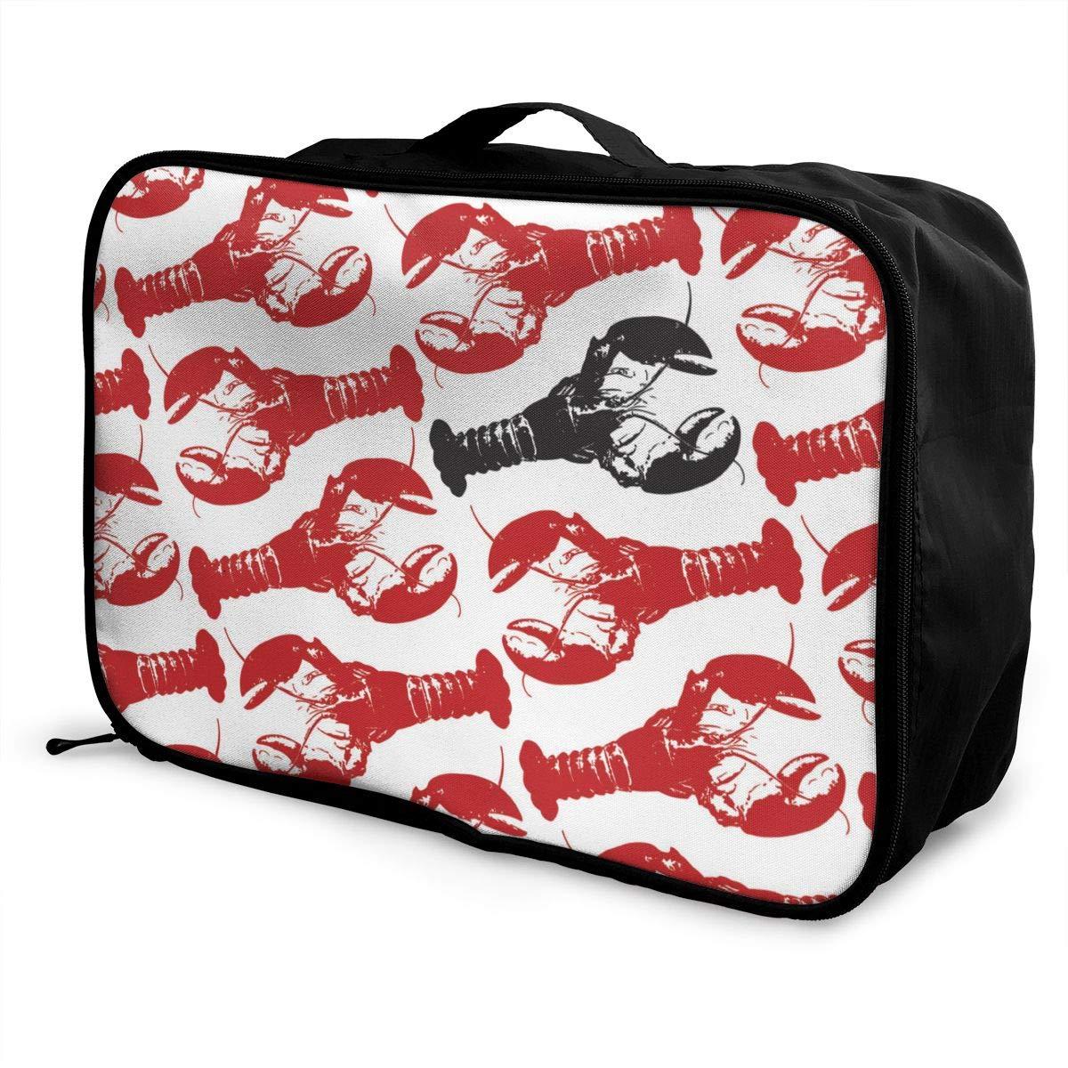 Lobster Lobster Black Lobster Travel Duffel Bag Casual Large Capacity Portable Luggage Bag Suitcase Storage Bag Luggage Packing Tote Bag Weekend Trip