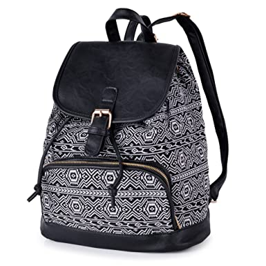 Vibiger Stylish Canvas Backpack Casual Bag Drawstring Backpacks School Bag  Daypack with Delicate Printing for Women 24e68ca6d8ca6