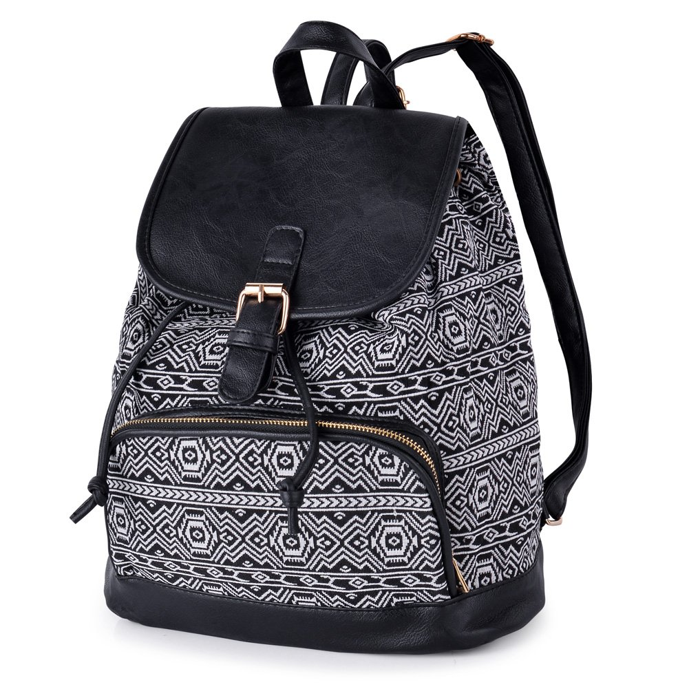 Vibiger Stylish Canvas Backpack Casual Bag Drawstring Backpacks School Bag Daypack with Delicate Printing for Women (B-Black)