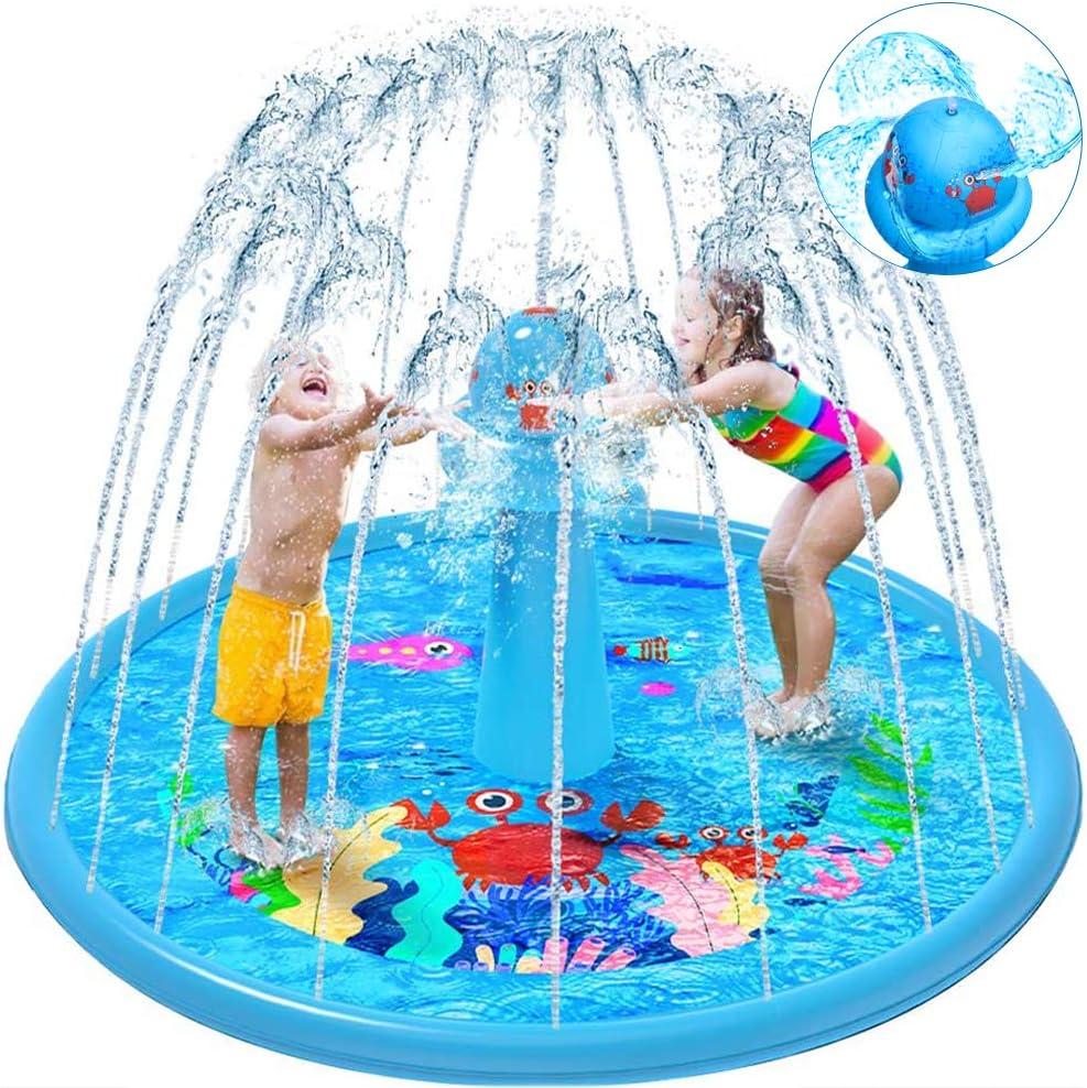 "VATOS Sprinkler Splash Pad for Kids Toddlers, 67"" Kiddie Pool Outdoor Inflatable Water Play Mat Toys for 1-12 Year Old Girls Boys UFO Rotating Water Spray Column Fun Garden Summer Toys"