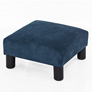 Joveco Ottoman Footrest Stool Small Fabric Square Footstool (Navy Blue)