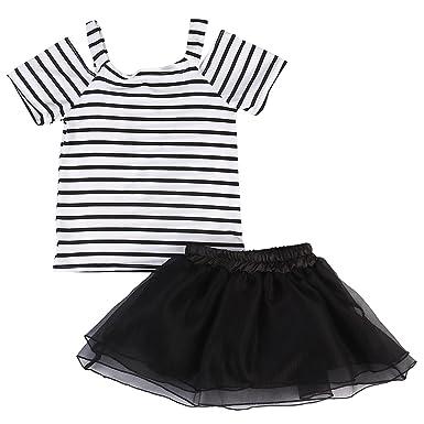 fc2b952d9 Amazon.com  Little Girls Off Shoulder Striped T Shirt Top Black Tutu ...