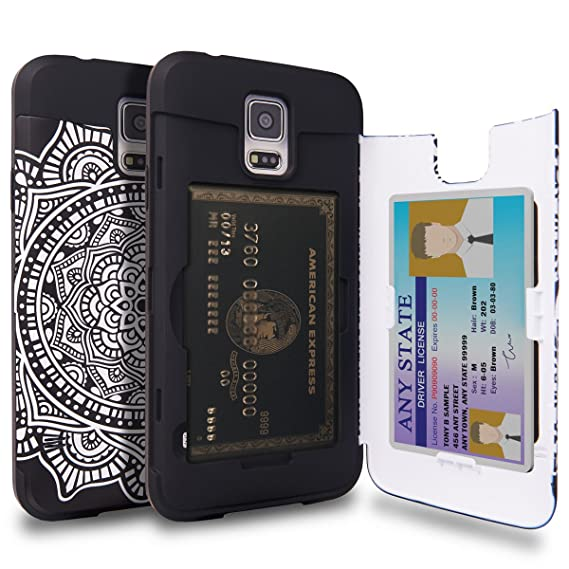 huge discount 51b73 62167 TORU CX PRO Galaxy S5 Wallet Case Pattern Mandala with Hidden ID Slot  Credit Card Holder Hard Cover & Mirror for Samsung Galaxy S5 / S5 Neo - ...
