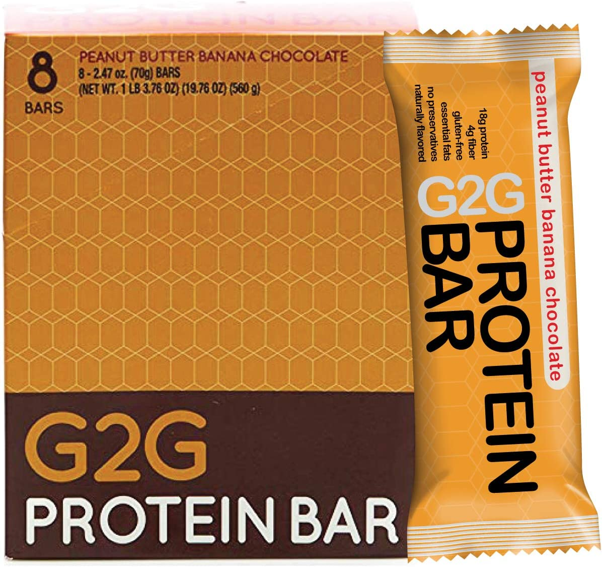 G2G Protein Bar, Peanut Butter Banana Chocolate Protein Bar, 8 Count Box