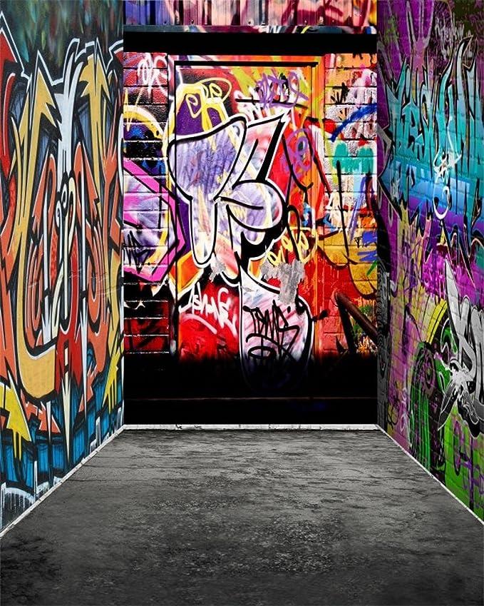 OFILA Graffiti Wall Backdrop 5x3ft Polyester Fabric Grafitti Artwork Photos Background Abandoned House Dirty Ruins Grunge Wall Backdrop Graffiti Exhibition Photos Events Decor Props