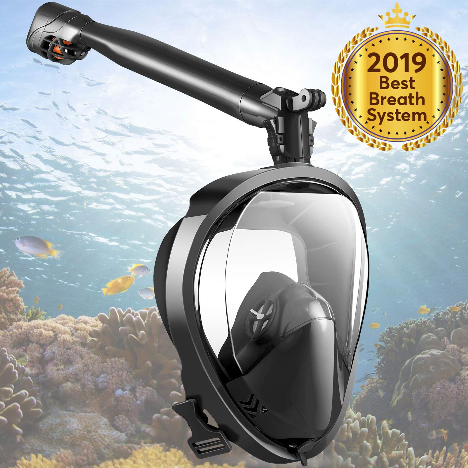Full Face Snorkel Mask, Joso Snorkeling Mask with Newest Safe Easy Breath System, Longer 360° Rotation Tube Anti-fog 181° Panoramic Seaview Anti-Leak Dry Top Set, for Adults Diving Swimming Backstroke by Joso
