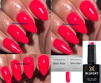 Bluesky Neon 25 Red/Coral Pink Summer Colour Nail Gel Polish UV LED ...