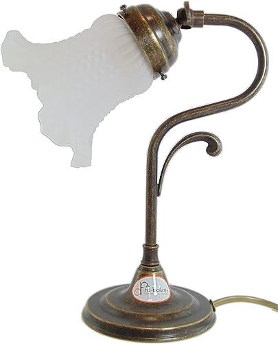 lampe de chevet vintage lmi5 Dimensions: Hauteur: 27cm, projection 22cm, Ø verre 13cm, Ø base 11,5cm Les dimensions sont complet du verre porte lampe