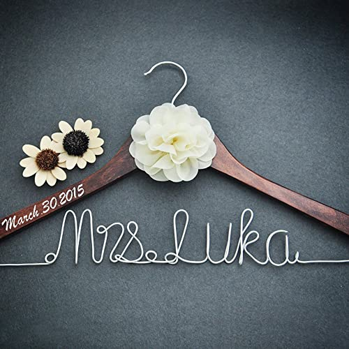 personalized bridal dress hanger bridal shower gift custom rustic wedding hanger bride bridesmaid maid