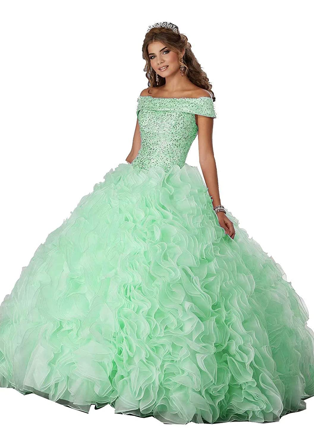 color 16 Unions Women's Off Shoulder Crystal Beaded Ball Gown Quinceanera Dresses Pageant Evening Wedding Dress